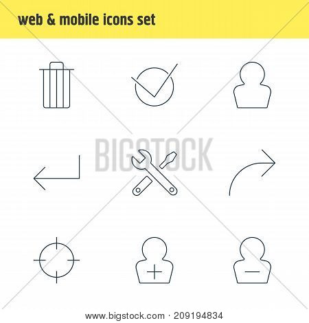 Editable Pack Of Share, Avatar, Remove User And Other Elements.  Vector Illustration Of 9 Interface Icons.