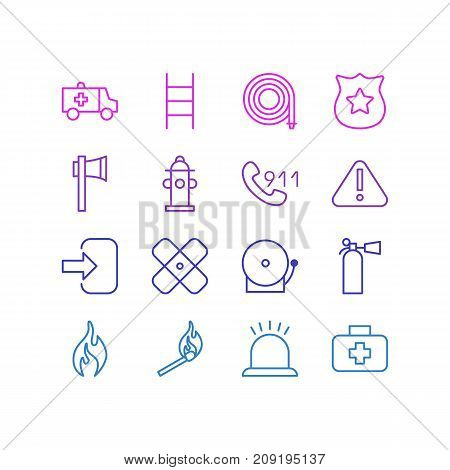 Editable Pack Of Door, Badge, First-Aid And Other Elements.  Vector Illustration Of 16 Necessity Icons.