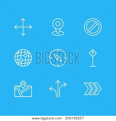 Editable Pack Of Pin, Compass, Direction And Other Elements.  Vector Illustration Of 9 Location Icons.