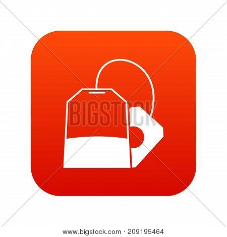 Teabag icon digital red for any design isolated on white vector illustration