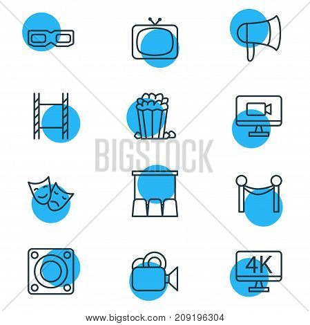 Editable Pack Of Camera, Spectacles, Cinema Fence And Other Elements.  Vector Illustration Of 12 Movie Icons.