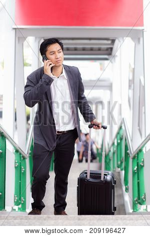 Businessman Traveler Journey Business Travel And Talking Phone.