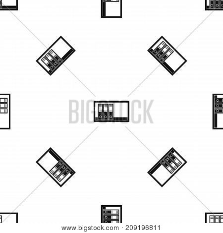 Office folders on the shelf pattern repeat seamless in black color for any design. Vector geometric illustration
