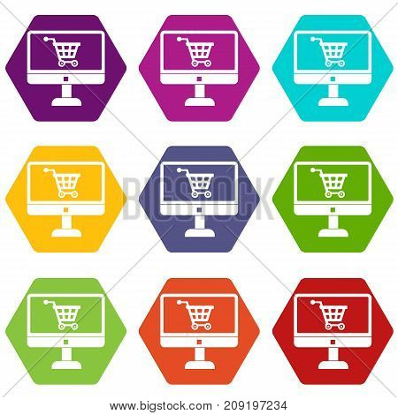 Purchase at online store through computer icon set many color hexahedron isolated on white vector illustration