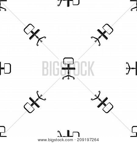 Office chair with wheels pattern repeat seamless in black color for any design. Vector geometric illustration
