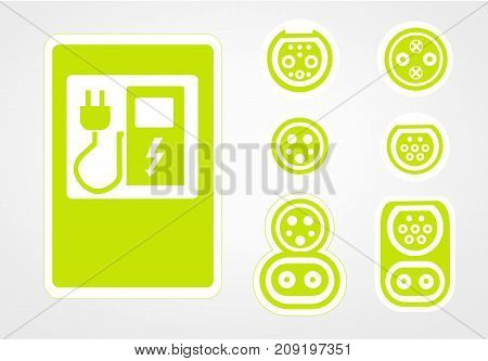 charging station of a modern electric vehicle logo, on the street, which is the future. The vector illustration. flat design. Charger input options.