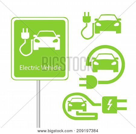Road sign template of car charging station with a set of icons. vector illustration. flat design