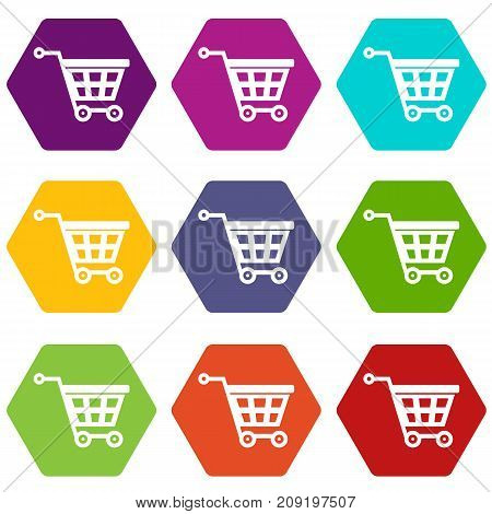 Basket on wheels icon set many color hexahedron isolated on white vector illustration