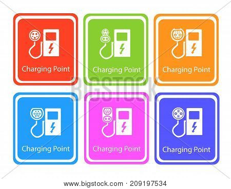 Green Eco Electric Fuel Pump Vector Icon . Road sign template of electric vehicle. Vector illustration of minimalistic flat design Charger input options.