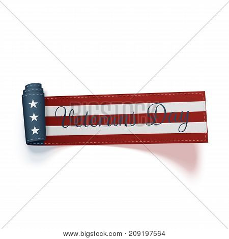 Happy Veterans Day vector curved Ribbon and Text