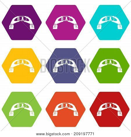 Hands holding a cell phone with photo icon set many color hexahedron isolated on white vector illustration