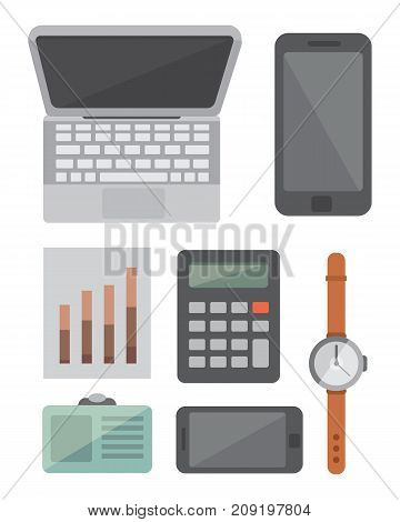 Workplace with mobile devices and documents. Office personal and Business Icons vector set. work table with gadget laptop flat illustration isolated