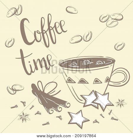Doodles coffee set. Vector Illustration for breakfast. Coffee time text. Chalk coffee, cinnamon and carnation on creamy background