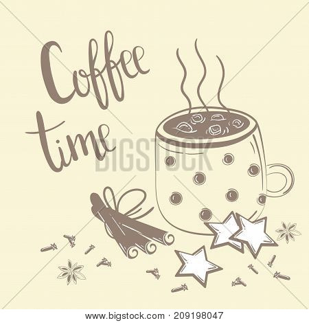Doodles coffee set. Vector Illustration for breakfast. Coffee time text. Coffee, cinnamon and carnation