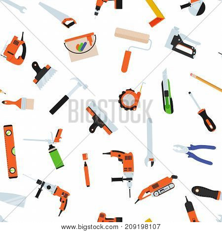 Seamless pattern with tools for repair. Vector illustration. Roller, brush, paint, pencil, tool, hammer tape measure putty knife pencil