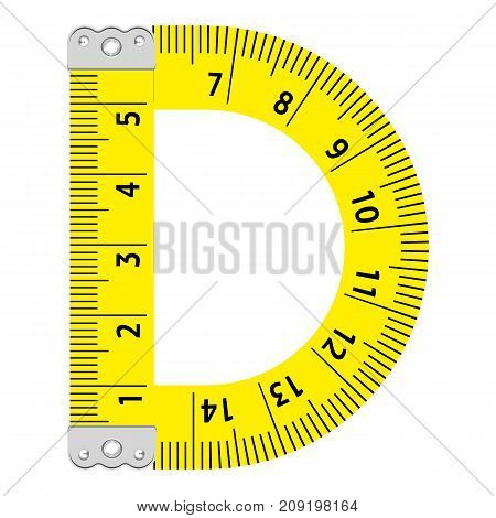 Letter d ruler icon. Cartoon illustration of letter d ruler vector icon for web
