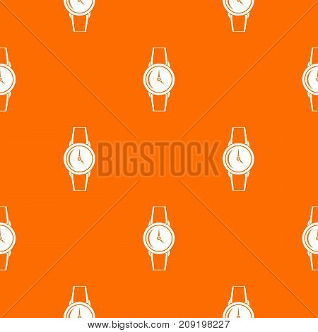 Wristwatch pattern repeat seamless in orange color for any design. Vector geometric illustration
