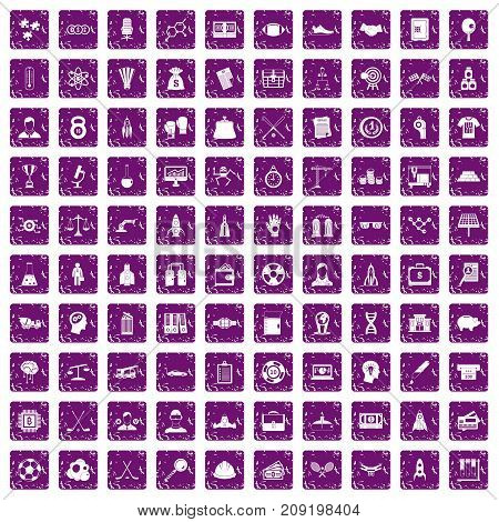 100 success icons set in grunge style purple color isolated on white background vector illustration