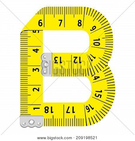 Letter b ruler icon. Cartoon illustration of letter b ruler vector icon for web
