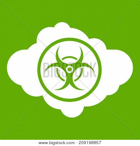 Cloud with biohazard symbol icon white isolated on green background. Vector illustration