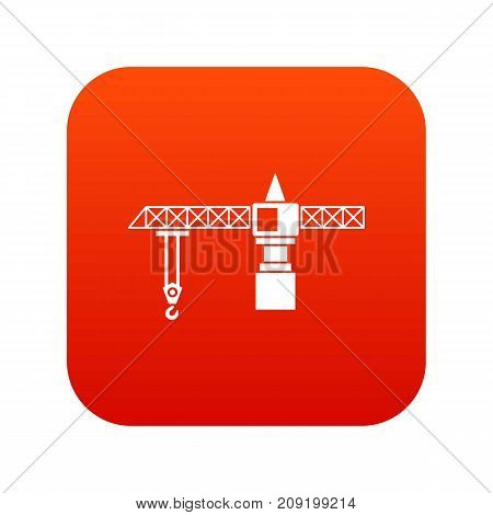 Crane icon digital red for any design isolated on white vector illustration
