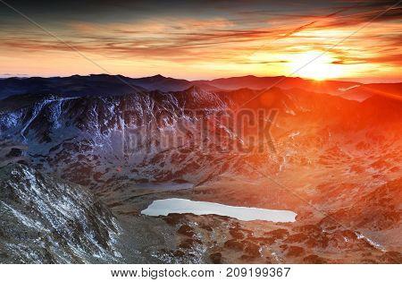 Sunset light in National Park Retezat, Romania, Europe