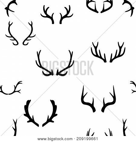 Seamless pattern with deer antlers. Vector illustration EPS 10. White background.