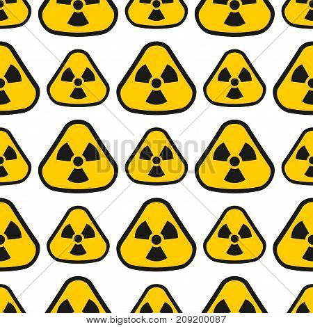 Seamless pattern background nuclear power sign vector electricity environment industrial electric pollution station chimney smoke reactor. Toxic atmosphere contamination atomic radioactive steam.
