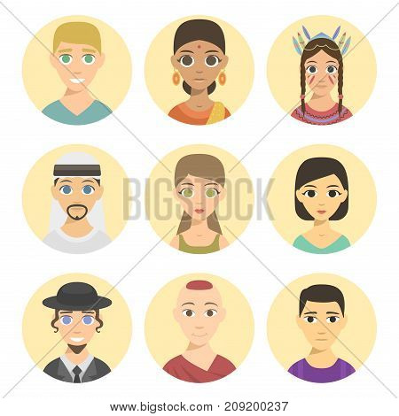 Set of cool avatars different nations people ethnicity portraits. Different skin tones, clothes and hair styles. Modern and simple flat cartoon style male female design set.