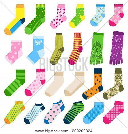 Foot toe socks fashion clothes design vector illustration various cotton warm collection Textile fabric pair cute decoration wool winter sport season collection.