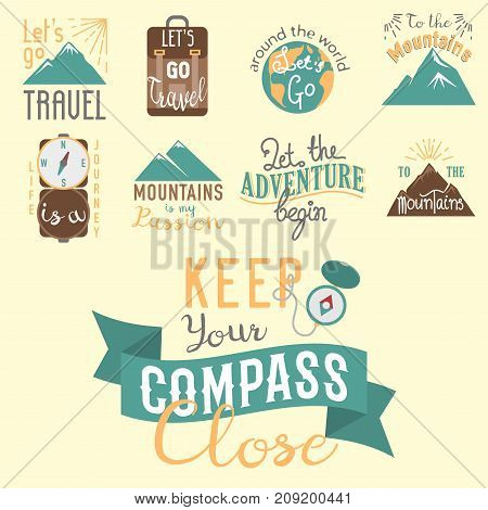 Vintage typography travel motivation badge nature adventure vector set. Adventure poster emblem lettering element journey concept.
