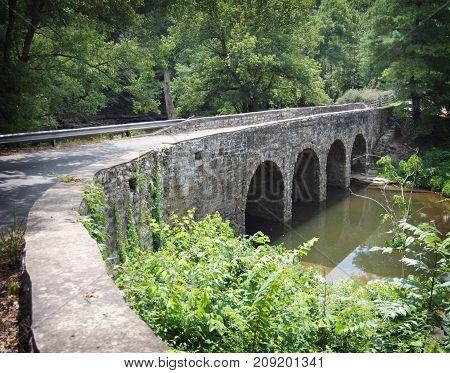 Glass Mill Bridge Over Small Stream in Kentucky