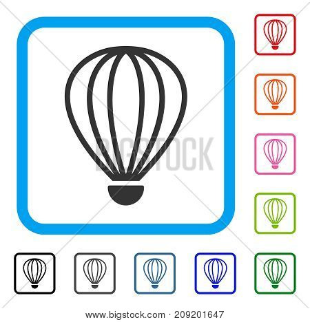 Aerostat icon. Flat gray iconic symbol in a light blue rounded squared frame. Black, gray, green, blue, red, orange color versions of Aerostat vector. Designed for web and application UI.
