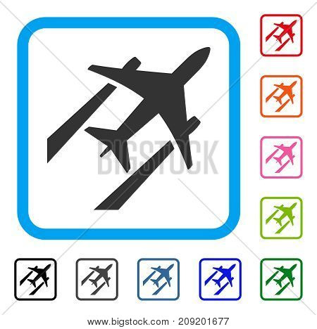 Air Jet Trace icon. Flat gray iconic symbol inside a light blue rounded frame. Black, gray, green, blue, red, orange color additional versions of Air Jet Trace vector.