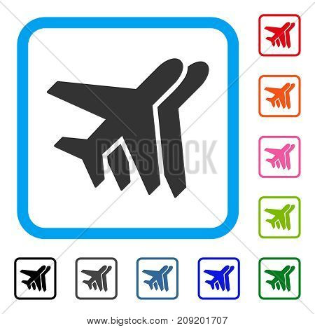 Airlines icon. Flat grey pictogram symbol in a light blue rounded rectangle. Black, gray, green, blue, red, orange color additional versions of Airlines vector.