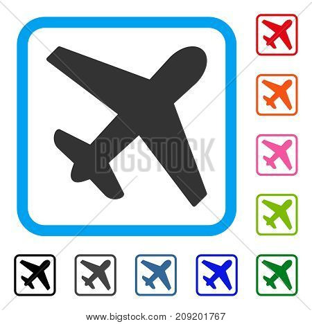 Airplane icon. Flat grey pictogram symbol in a light blue rounded rectangle. Black, gray, green, blue, red, orange color variants of Airplane vector. Designed for web and application user interface.