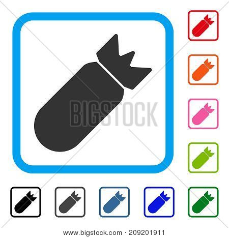 Aviation Bomb icon. Flat gray iconic symbol inside a light blue rounded rectangle. Black, gray, green, blue, red, orange color versions of Aviation Bomb vector.