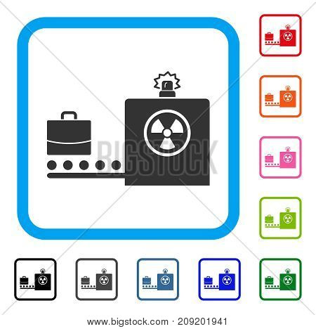 Baggage Screening icon. Flat gray iconic symbol in a light blue rounded squared frame. Black, gray, green, blue, red, orange color variants of Baggage Screening vector.