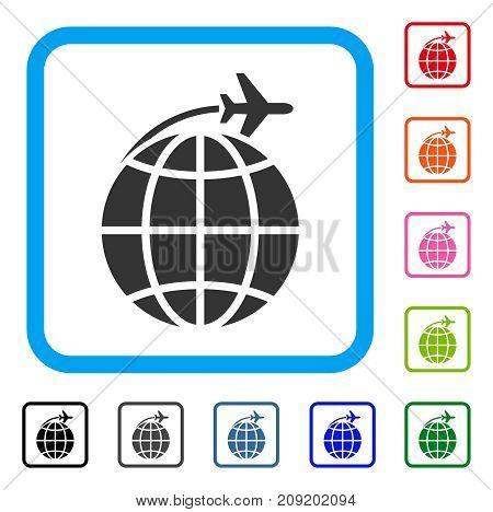 International Flight icon. Flat gray pictogram symbol inside a light blue rounded frame. Black, gray, green, blue, red, orange color versions of International Flight vector.
