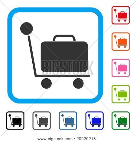 Luggage Trolley icon. Flat grey pictogram symbol inside a light blue rounded frame. Black, gray, green, blue, red, orange color variants of Luggage Trolley vector.