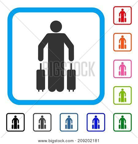 Passenger Luggage icon. Flat gray pictogram symbol in a light blue rounded square. Black, gray, green, blue, red, orange color variants of Passenger Luggage vector.