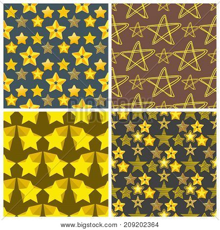 Style shape silhouette shiny star seamless pattern background vector illustration. Pointed pentagonal gold award. Abstract design star symbol. Vector shape graphic element.