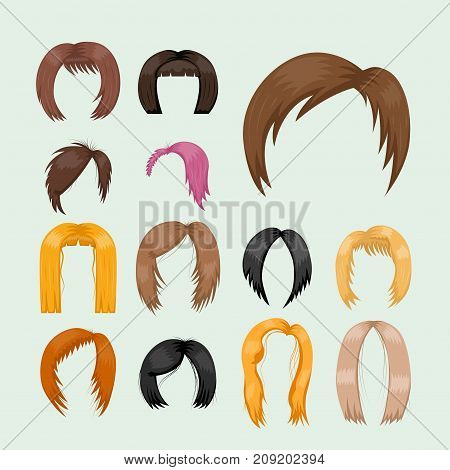 Set of woman hair styling vector illustration. Young brown silhouette health color haircut. Beautiful glamour design long model barber attractive stylish portrait.