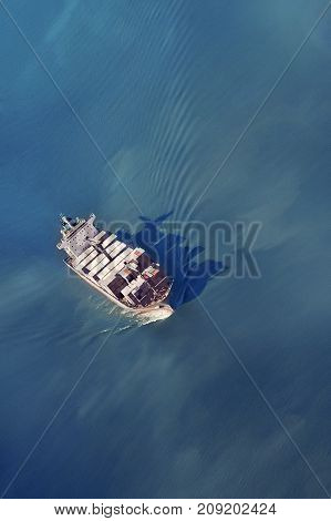 Freighter filled with containers floating in the sea on a sunny day, the view from above