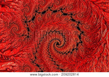 Fractal spiral background - abstract computer-generated image. Intricate red pattern for covers, web design, posters.