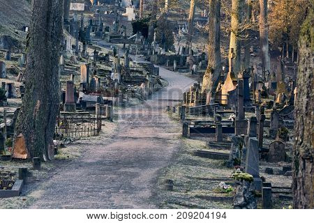 Old cemetery with many tombstones