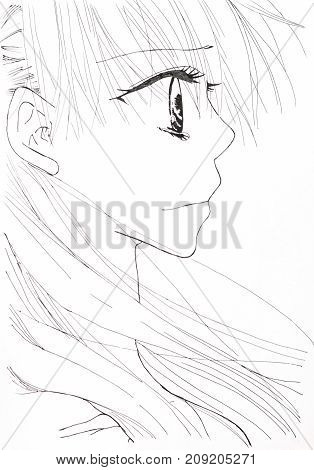 Drawing In The Style Of Anime. Picture Of A Girl In The Picture