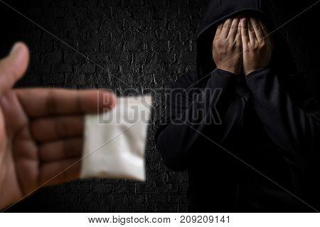 man substance dependence medication Drug syringe and cooked heroin poster