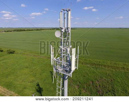 Cellular Tower. Equipment For Relaying Cellular And Mobile Signa