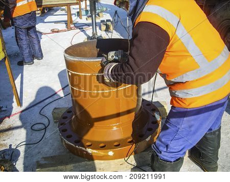 Safety At Work. Welding And Installation Of The Pipeline. Indust